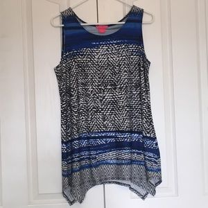 Sleeveless blue, white and black top. Not used
